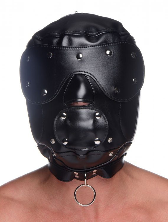 Muzzled Universal BDSM Hood with Removable Mozzle